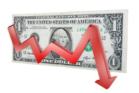 American dollar and red graph down Stock Photo