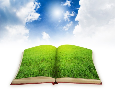 literatura: Libro verde paisaje de p�ginas. Concepto de libro m�gico Foto de archivo