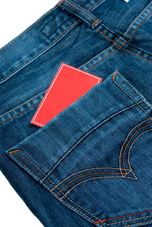 jeans pocket wiht red paper note photo