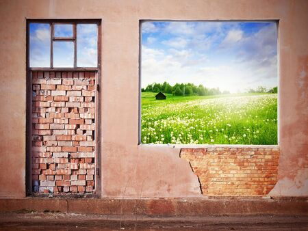 wall with hole revealing green summer landscape photo