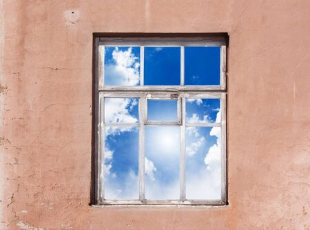 Closed window with cloud landscape 版權商用圖片