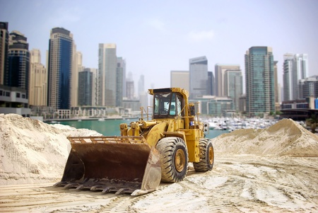 Construction tractor in Dubai, United Arab Emirates  Stock Photo