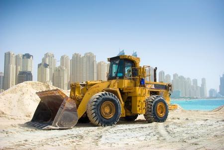 Construction tractor in Dubai, United Arab Emirates  Stock Photo