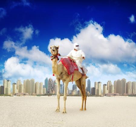 アラブ首長国連邦ドバイ マリーナ ビーチでのラクダ 写真素材