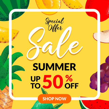 Summer Sale banner with pieces of mango, pineapple, red apple, grape, and watermelon fruits. exotic fruits design for banner, flayer, invitation, poster, web site or greeting card. Illustration