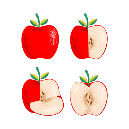 Colorful Red apple with grain shadow texture vector. Can use for healthy fruit, wallpaper cafe, restaurant, and fruits market. 스톡 콘텐츠 - 114723990