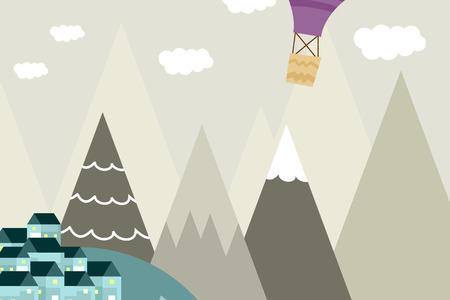 Grafische Illustration für Kinderzimmertapete mit Haus, Hügel und lila Heißluftballon. Kann für Druck an der Wand, Kissen, Dekoration für Kinder, Babykleidung, Textilien und Karten verwendet werden
