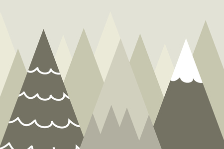 Graphic illustration for kids room wallpaper with mountain background. Can use for print on the wall, pillows, decoration kids interior, baby wear, textile, and card  イラスト・ベクター素材