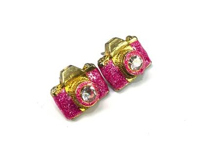 shiny metal: Earrings on the white bacground Stock Photo