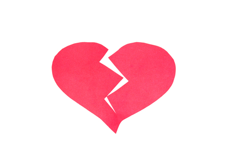 heartbreak issues: Broken heart,Heart made of paper on white background