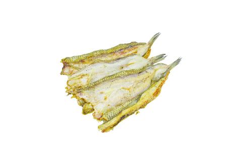 conservacion alimentos: La preservaci�n de alimentos, pescado secado aislado sobre fondo blanco