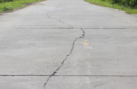 The cracks on the road Stock Photo