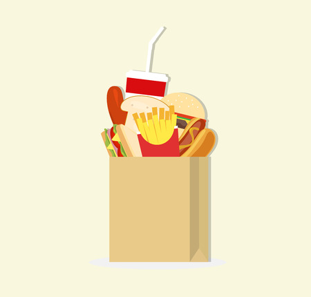 paper bag and fast food Stock Illustratie
