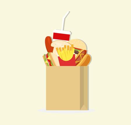 paper bag and fast food Illustration