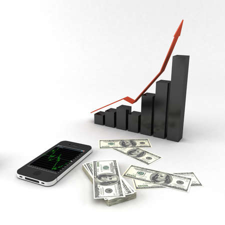forex: graph with money and phone Stock Photo