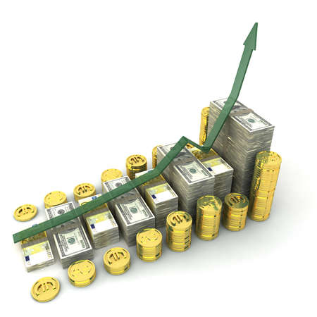 money graph with dollars,euro and gold currencies Stock Photo - 8779731