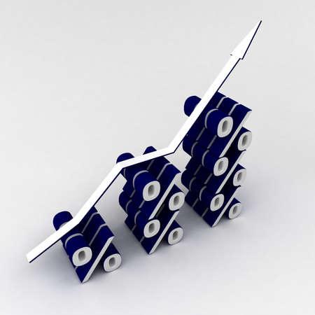blue Percent graph Stock Photo - 8779730