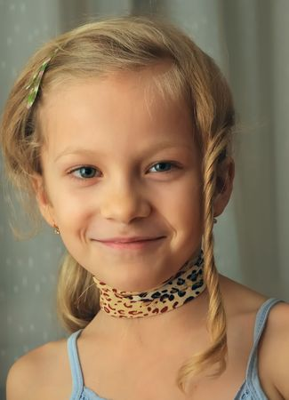 Portrait of the girl seven years old. Stock Photo