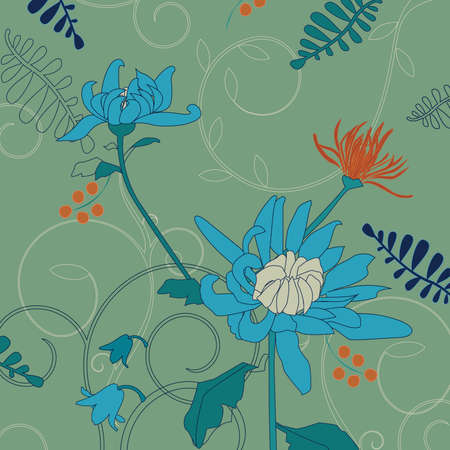 Blue Chrysanthemum Pattern Floral Ornament  Vector Illustration