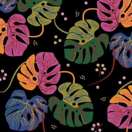 Monstera Seamless Pattern Vector Illustration