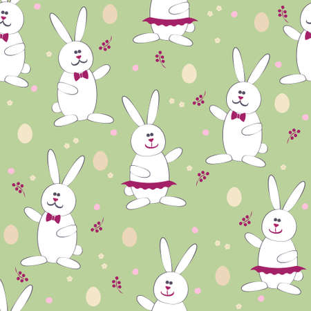 labeling: Cute Easter Bunny & Egg Hunt game seamless pattern vector background. Use for textiles, gift package decoration, web page background, surface textures, food labeling, wrapping paper. Editable.