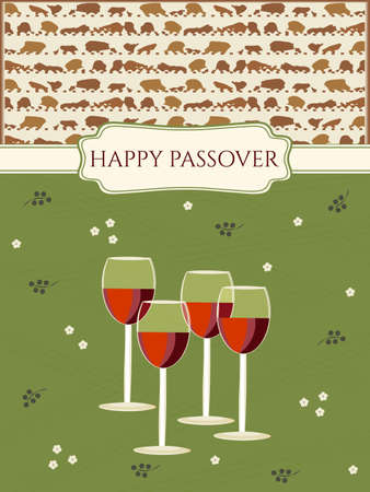 greeting: Greeting card design for Passover vector template. Jewish Spring holiday greeting card  poster. Matzo pattern background, four red wine glasses traditional for Passover Seder Table. Layered, editable