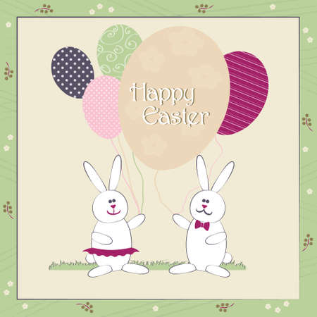 egg shape: Happy Easter greeting card vector colorful illustration. Cute Easter Bunny couple with balloons resembling egg shape. Traditional Spring holiday invitation & greeting card template. Layered editable.