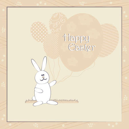 egg shape: Happy Easter greeting card vector illustration in pastel colors. Cute Easter Bunny with balloons resembling egg shape. Traditional Spring holiday invitation & greeting card template. Layered editable.