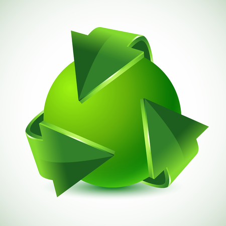 business cycle: green recycling arrows and green earth, vector illustration