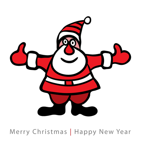 Colorful santa claus on white background, Vector retro illustration  Vector