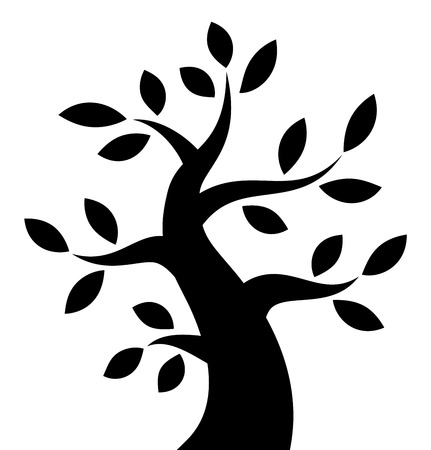 Black Bold Tree icon, vector illustration