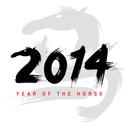 2014 - Year of the Horse, vector illustration  Vector