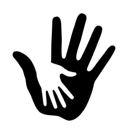 ni�os negros: Cuidar la mano Vectores