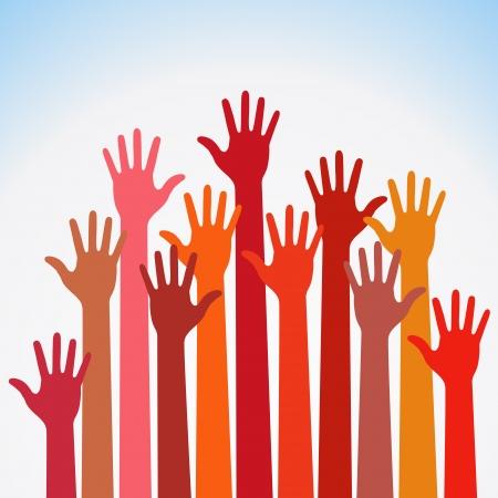 manos levantadas al cielo: colores c�lidos hasta las manos, ilustraci�n vectorial