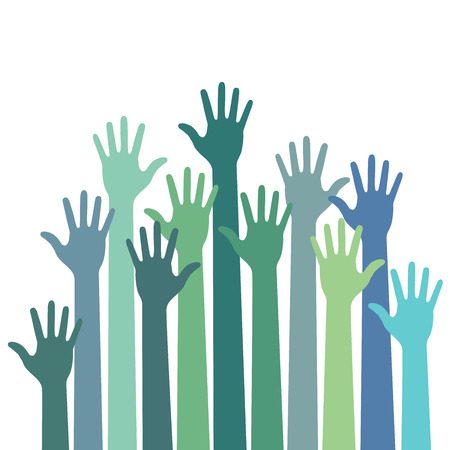 many hands: green - blue colorful up hands, vector illustration