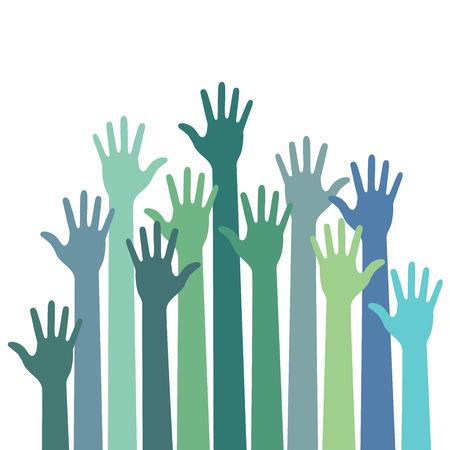 manos levantadas al cielo: verde - azul colores hasta las manos, ilustraci�n vectorial Vectores