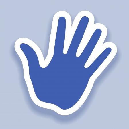 hand print: Hand print paper effect, web icon