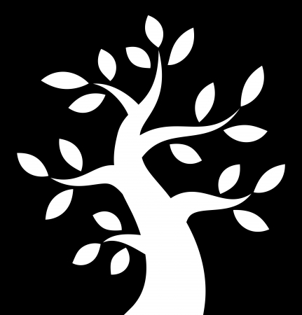 White Bold Tree icon on black background Illustration
