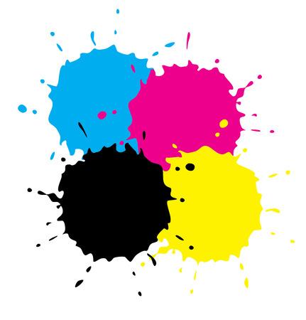 printer drawing: Cmyk Grunge Spots