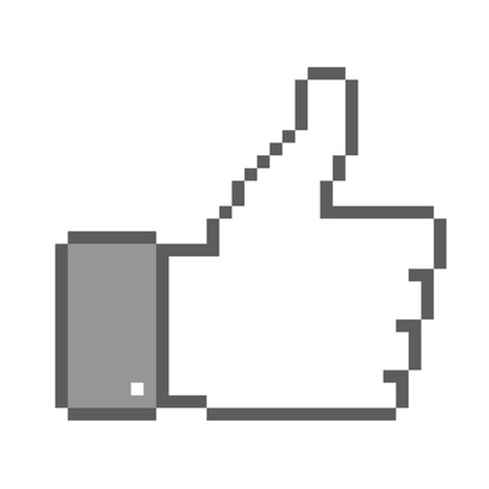 page up: Gray Pixel thumb up icon