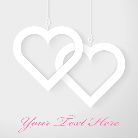 Two Hearts applique on gray background, Vector