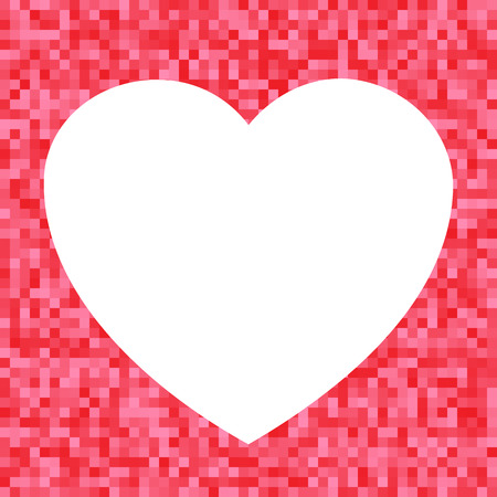 happy valentine s day: White Heart icon on Red Pixel Background