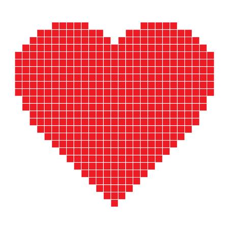 赤いピクセルの心 ベクターイラストレーション