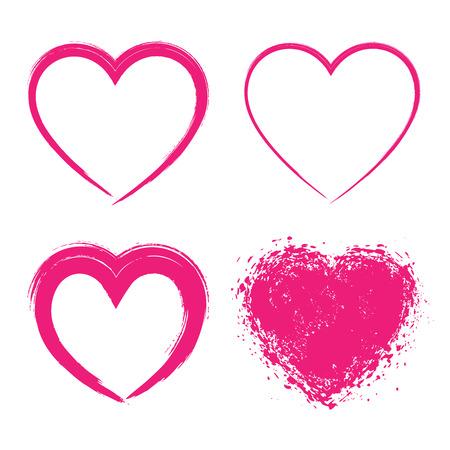 Set di Hand Drawn Grunge Hearts