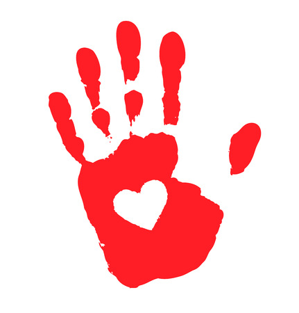 Hand print with heart icon, vector illustration  Vector