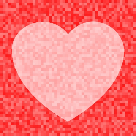 Pink Heart icon on Red Pixel Background Vector