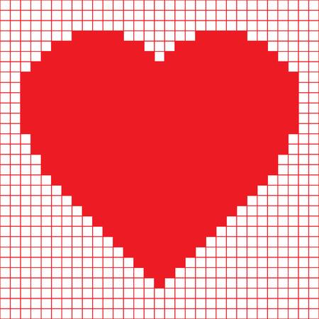 赤いピクセルの心  イラスト・ベクター素材