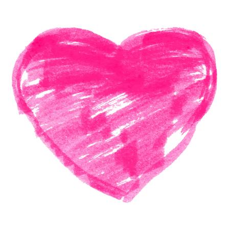 felt: Pink Felt Pen Heart, vector illustration