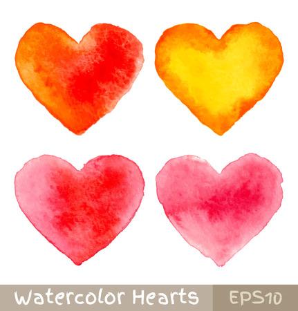 Conjunto de coloridos corazones Acuarela Foto de archivo - 25251106
