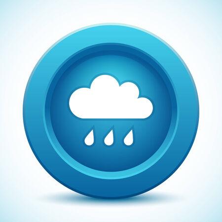 wheather forecast: Cloud blue button Illustration